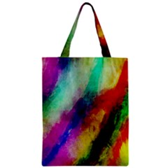 Abstract Colorful Paint Splats Zipper Classic Tote Bag