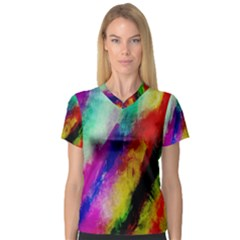 Abstract Colorful Paint Splats Women s V-Neck Sport Mesh Tee