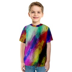Abstract Colorful Paint Splats Kids  Sport Mesh Tee