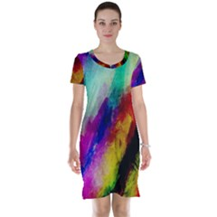 Abstract Colorful Paint Splats Short Sleeve Nightdress