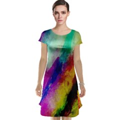 Abstract Colorful Paint Splats Cap Sleeve Nightdress