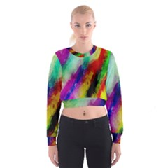 Abstract Colorful Paint Splats Women s Cropped Sweatshirt