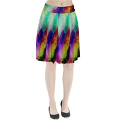 Abstract Colorful Paint Splats Pleated Skirt