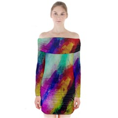 Abstract Colorful Paint Splats Long Sleeve Off Shoulder Dress