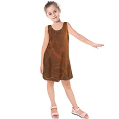 Fractal Color Lines Kids  Sleeveless Dress