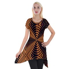 Fractal Patterns Short Sleeve Side Drop Tunic