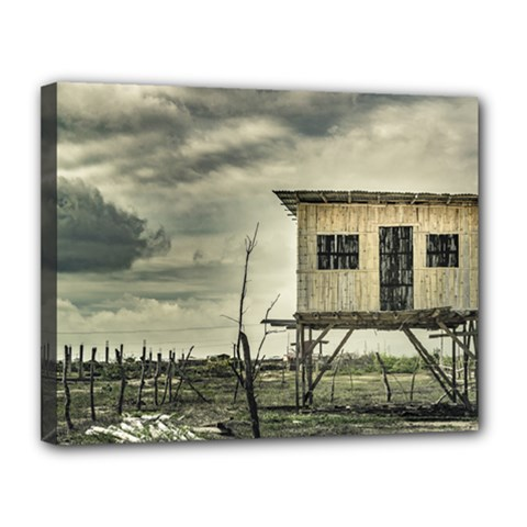 Traditional Cane House At Guayas District Ecuador Canvas 14  x 11