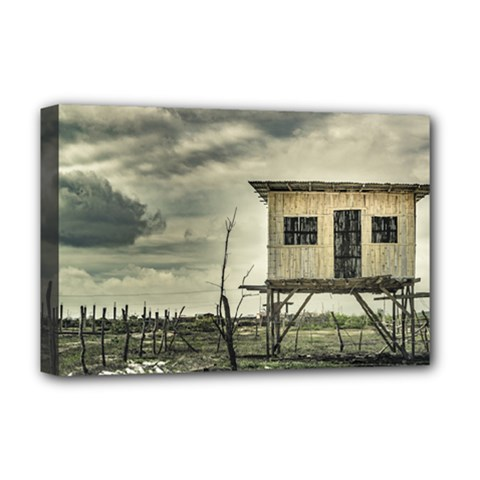Traditional Cane House At Guayas District Ecuador Deluxe Canvas 18  x 12
