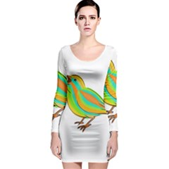 Bird Long Sleeve Bodycon Dress
