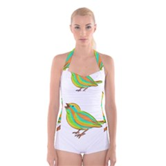 Bird Boyleg Halter Swimsuit