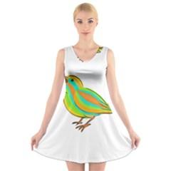 Bird V-Neck Sleeveless Skater Dress