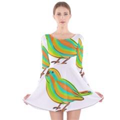 Bird Long Sleeve Velvet Skater Dress