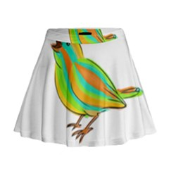 Bird Mini Flare Skirt