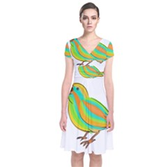 Bird Short Sleeve Front Wrap Dress