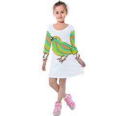 Bird Kids  Long Sleeve Velvet Dress
