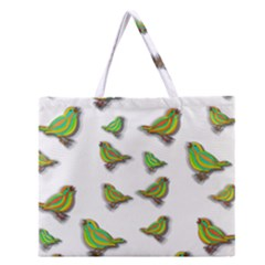 Birds Zipper Large Tote Bag
