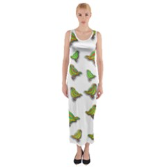 Birds Fitted Maxi Dress