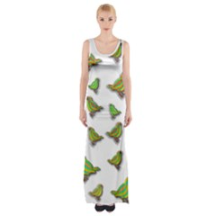 Birds Maxi Thigh Split Dress