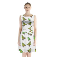 Birds Sleeveless Chiffon Waist Tie Dress