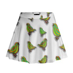 Birds Mini Flare Skirt