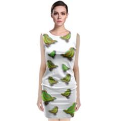 Birds Sleeveless Velvet Midi Dress