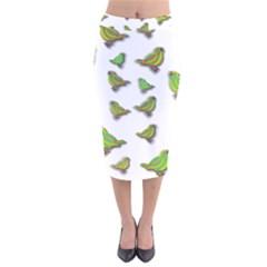 Birds Velvet Midi Pencil Skirt
