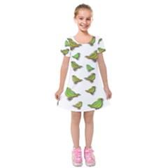 Birds Kids  Short Sleeve Velvet Dress