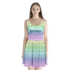 Pastel Rainbow Barb Wire Split Back Mini Dress
