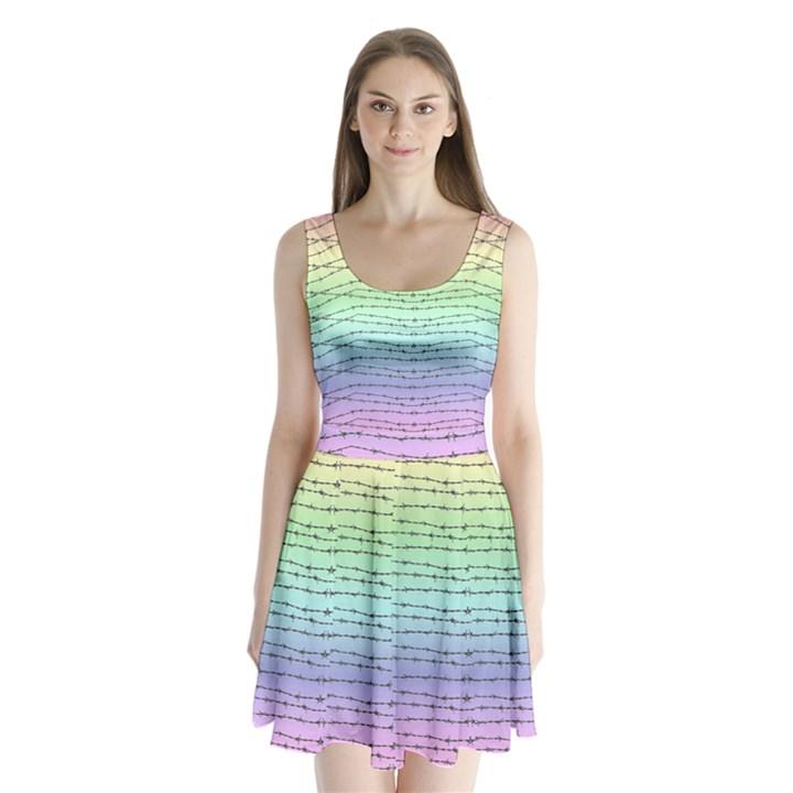 Pastel Rainbow barb wire Split Back Mini Dress