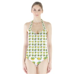 St Patrick S Day Background Symbols Halter Swimsuit