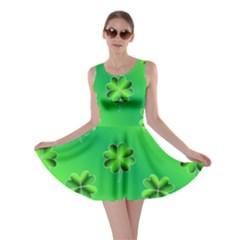 Shamrock Green Pattern Design Skater Dress