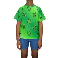 Shamrock Green Pattern Design Kids  Short Sleeve Swimwear