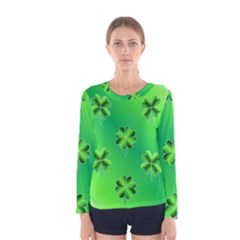 Shamrock Green Pattern Design Women s Long Sleeve Tee