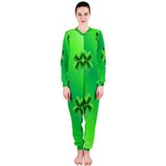 Shamrock Green Pattern Design OnePiece Jumpsuit (Ladies)