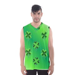 Shamrock Green Pattern Design Men s Basketball Tank Top