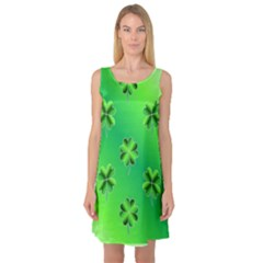 Shamrock Green Pattern Design Sleeveless Satin Nightdress