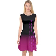 WCS - PINK PURPLE Capsleeve Midi Dress