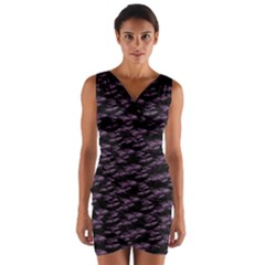 Purple Snakeskin Wrap Front Bodycon Dress