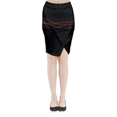 Barb wire black and red Midi Wrap Pencil Skirt