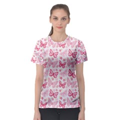 Cute Pink Flowers And Butterflies pattern  Women s Sport Mesh Tee