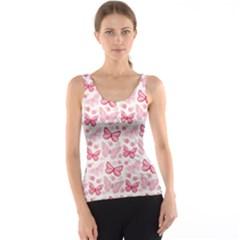 Cute Pink Flowers And Butterflies pattern  Tank Top