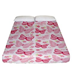 Cute Pink Flowers And Butterflies pattern  Fitted Sheet (King Size)