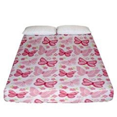 Cute Pink Flowers And Butterflies pattern  Fitted Sheet (California King Size)