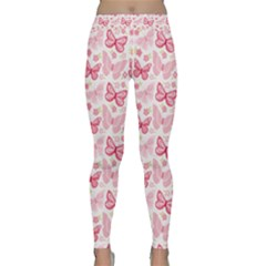 Cute Pink Flowers And Butterflies pattern  Classic Yoga Leggings