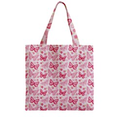 Cute Pink Flowers And Butterflies pattern  Zipper Grocery Tote Bag