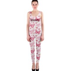 Cute Pink Flowers And Butterflies Pattern  Onepiece Catsuit