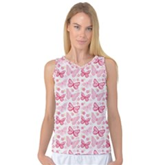 Cute Pink Flowers And Butterflies pattern  Women s Basketball Tank Top