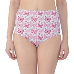 Cute Pink Flowers And Butterflies pattern  High-Waist Bikini Bottoms