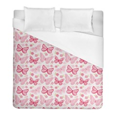 Cute Pink Flowers And Butterflies pattern  Duvet Cover (Full/ Double Size)
