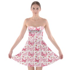 Cute Pink Flowers And Butterflies pattern  Strapless Bra Top Dress